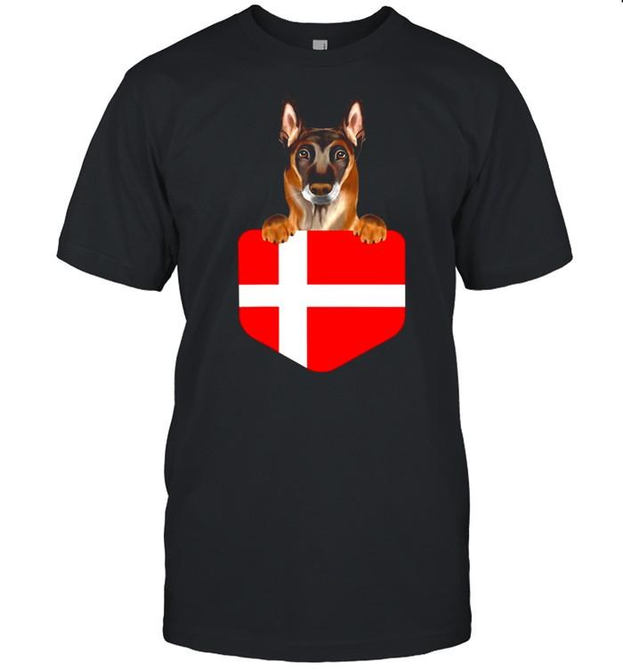 Denmark Flag Belgian Malinoi Dog In Pocket shirt