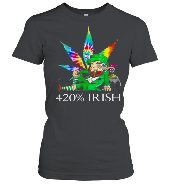 420% Irish Leprechaun Smoking Marijuana Leaf Tie Dye Patrick's Day Pot Of Gold Coins shirt Classic Women's T-shirt