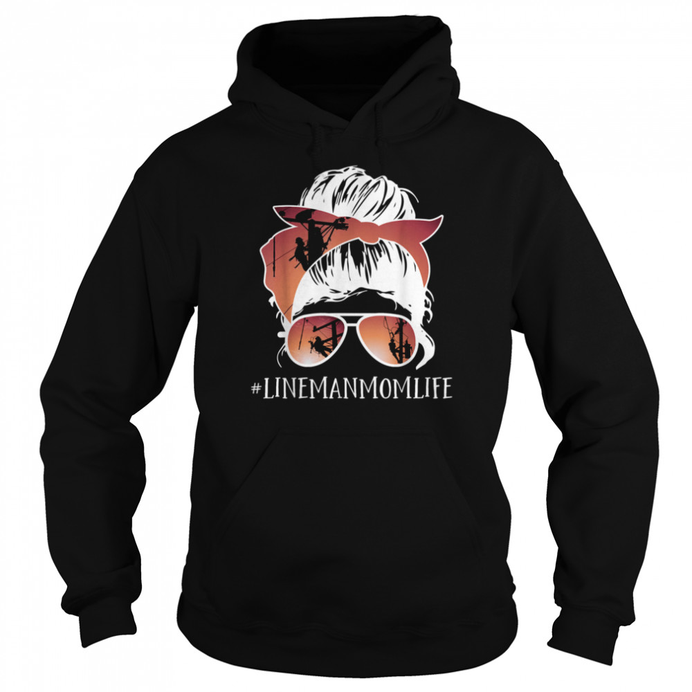 Mother's day Messy Hair Bun LineMan Mom Line Mother  Unisex Hoodie