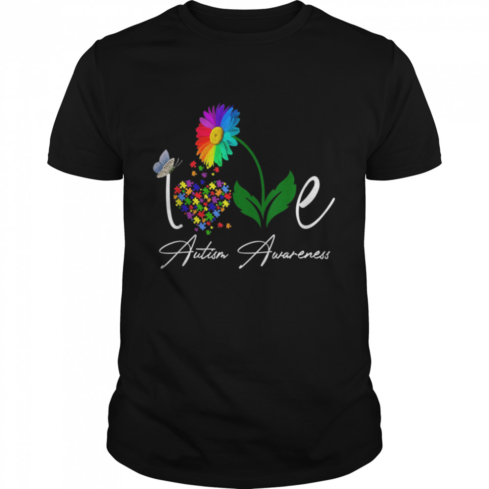 Love Puzzle Daisy Flower Autism Awareness shirt