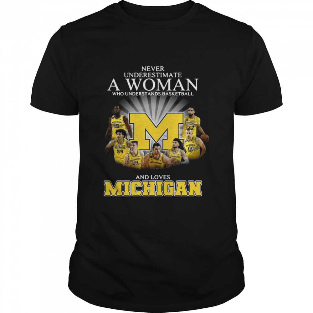 Never Underestimate A Woman Who Understands Basketball And Loves Michigan shirt