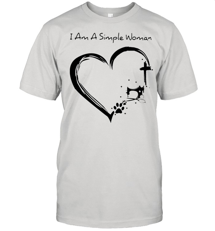 I Am A Simple Woman Dog Sewing And Jesus Shirt
