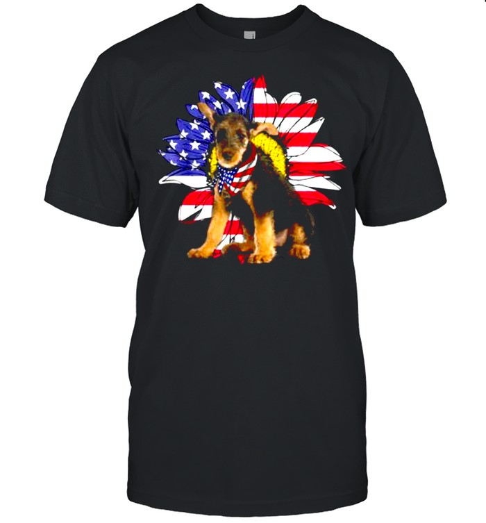 Sunflower American Flag Airedale Terrier Dog Lovers Owners Shirt